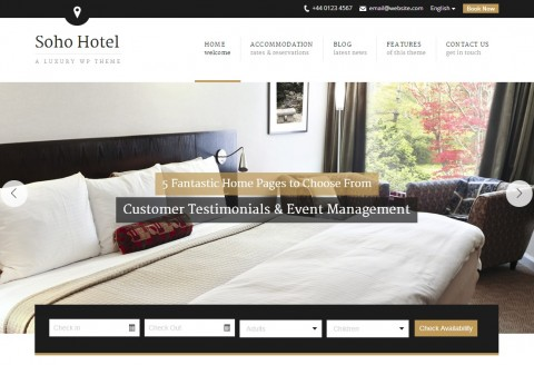Hotel Booking / Reservation WP Theme