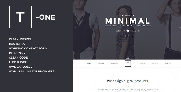 t - one clean and simple wordpress theme