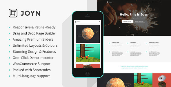 joyn responsive retina simple wordpress template