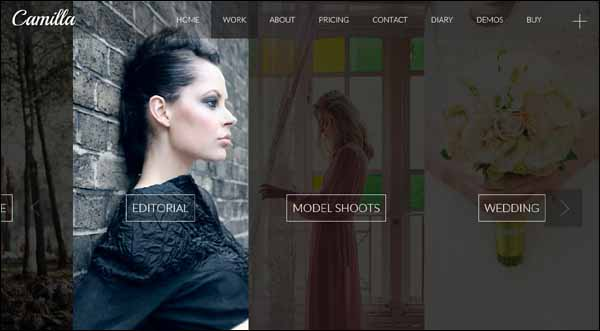 Camilla Horizontal Fullscreen Photography Theme