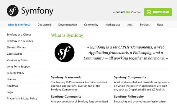 Symphony leading PHP framework